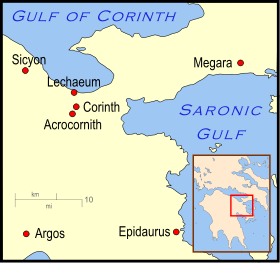 Map of the Isthmus of Ancient Corinth Source: Wikimedia Commons