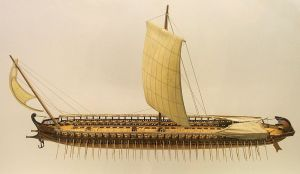 Model of a Greek Trireme Source: Wikimedia Commons