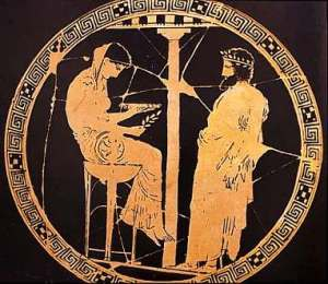 The Delphic Oracle. Kylix by the Kodros painter, c. 440-430 BCE.  From the Collection of Joan Cadden.