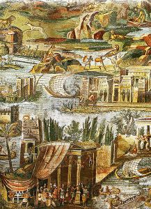 A close up of the elaborate Nile mosaic located in the Temple of Fortuna Primigenia.