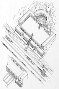 Birds-eye view drawing of the Temple of Fortuna Primigenia.