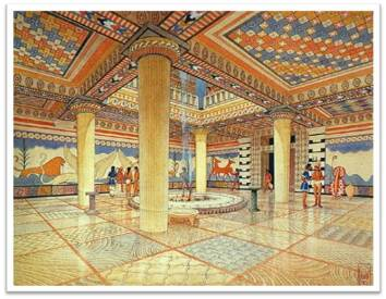 Artist's rendition of what a typical Mycenaean megaron may have looked like