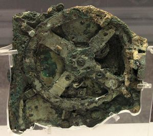 The Antikythera Mechanism found off the coast of Antikythera Island.