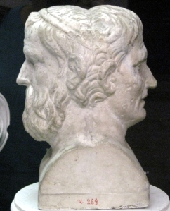 Bust of Greek comedians Aristophanes and Menander. Image from WikiCommons.