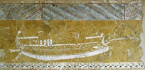 Ancient depiction of a warship from a temple